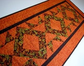 Quilted Table Runner, Autumn Table Mat, Thanksgiving Table Runner, Scattered Leaves on Rust Background, Quiltsy Handmade