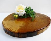 "16"" x11"" Wood Slab, Wood Cake Stand, Rustic Wood Centerpiece, Oak Wood Slice, Cake Stand, Tree Trunk Slice,Tree Slice,Wedding Cake Stand"