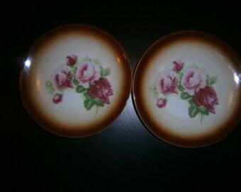 Schwarzenhammer Dessert Plates, Bavarian, Roses, Brown Trim, Pair, Vintage