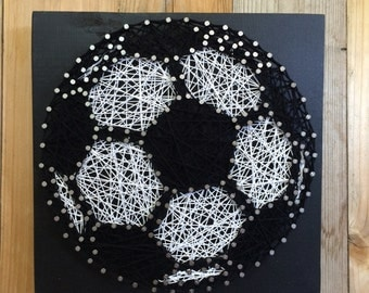 Soccer String Art - String Art - Soccer Decor - Decor for a Sports Themed Room - Sports Nursery Decor - Boys Decor - Soccer Fan Gift