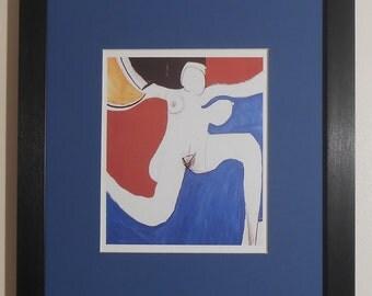 "Mounted and Framed - Oi Yoi Yoi Print by Roger Hilton - 16"" x 12"""