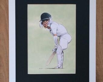 Mounted and Framed Geofrey Boycott Drawing by John Ireland - 30cms x 40cms - Comical Cricket Art