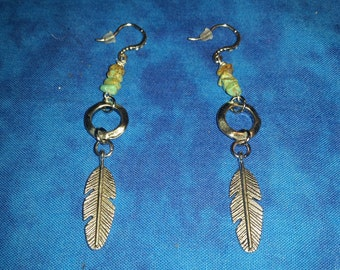 Turquoise and Feather Earrings - Silver Tone