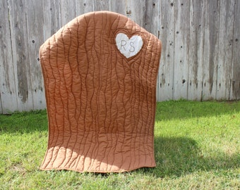 Heart Carved Tree Quilt