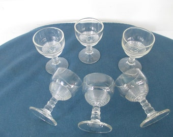 Vintage Retro Ribbed Cordial Wine Glass Set Of Six Stemware Barware Glassware Wine Glasses Cocktail Glasses Drinkware Mid Century