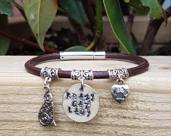 LEATHER KRAZY CAT Lady Bracelet. Handmade. Leather.Handstamped. Dog. Cat. Jewellery.