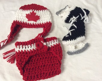 Team Canada Inspired. Baby Crochet Hockey Earflap Hat, Diaper Cover, and Skate Booties .