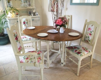 Beautiful vintage dining table and 4 chairs, Annie Sloan, Cream