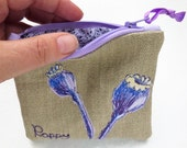 Coin purse poppy seed head embroidered zipper pouch change purse card holder