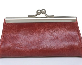 """Purse , wallet leather , """" GRANAT """" , red leather wallet"""