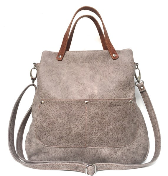 "Leatherbag grey leather , "" STONE"" elegant leather case , grey leather bag , big leather bag"