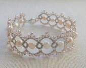 Tatting Lace Jewelry Silver bracelet - Lace bracelet - Wedding jewelry