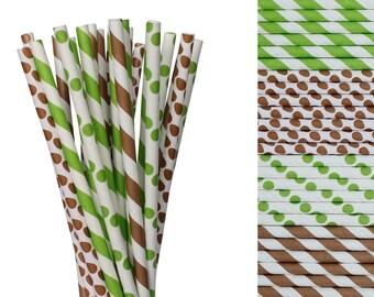 Lime Green and Brown Paper Straw Mix-Polka Dot Straws-Striped Paper Straws-Football Birthday Decor-Playoffs Party Straws-Cake Pop Sticks