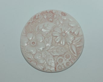"""Big Pink Button with Flower Detail. Size 2 3/8"""""""