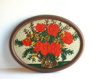 Vintage Framed Needlepoint Pictre of Red Poppies