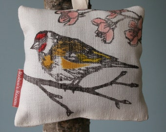 Lavender bag, Bird print,  lino printed linen, hand printed linen woven in UK, Dried Yorkshire lavender, Goldfinch, Blossom, sleep aid