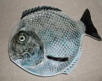 Fish Serving Platter, Majolica Pottery, Sushi Serving Dish, Glazed Ceramic Plate, Smoked Salmon Plate, Handpainted Fish Display Platter,Tray