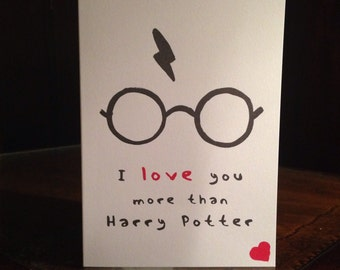 Harry Potter 'I love you more than Harry Potter' Valentines Card