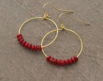 Ruby Bead and Gold Hoop Earrings - Ruby Rondelle Earrings - Boho Beaded Earrings - Red Hoop Earrings