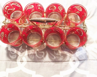 Barware Red Glasses Hollywood Regency Bohemian Chic Glasses Carry Tray/Cart Set 8