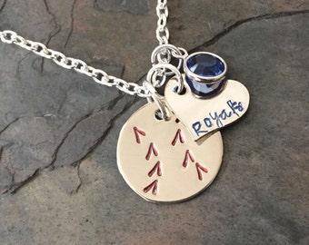 Kansas City Royals Baseball Hand Stamped Nickel Silver Necklace