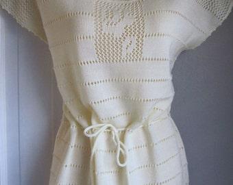 Vintage 70s Cream Hippie Knit Top