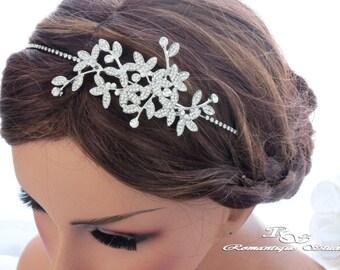 Bridal headband vintage, Crystal wedding headband, Rhinestone vine headband, Crystal bridal headpiece, Wedding hair accessories 3158
