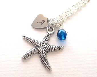 Initial necklace - Personalised Starfish necklace - Birthstone necklace - Charm necklace - Bridesmaid gift - Ocean jewellery - UK seller