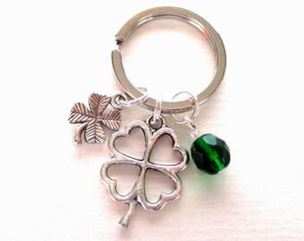 Good luck gift - Lucky clover keyring - St. Patrick's Day gift - Four leaf clover - Lucky clover keychain - Good luck keyring - UK seller