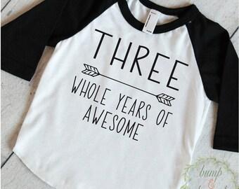 Third Birthday Boy Shirt 3rd Birthday Boy Outfit Third Birthday Boy Birthday Shirt Boy Third Birthday Outfit Three Years of Awesome 250