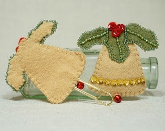 Wool Felt Christmas Bell , Bell Book Marker with Gold Paperclip, Wool Felt Christmas Decoration *Ready to ship