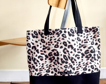 Tote Bag Léopard / 100% coton / Sac de shopping
