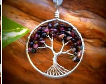 Goddess Lakshmi Hindu Goddess INSPIRED hand wired stainless steel  and topaz tree of life pendant