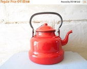 10 % SALE French Antique Enamel Kettle, Red Kettle French Enamelware by Japy France.