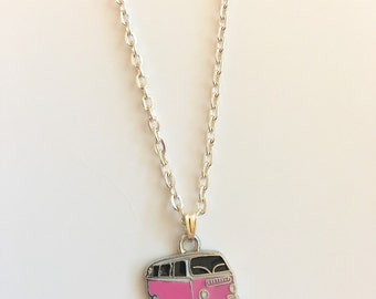 Pink VW Hippie Bus Enamel Charm Silver Choker Necklace