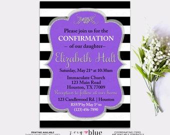 Purple Baptism Invitation- Confirmation Invite Silver Purple Girl First Communion Christening Invite - Stripes- Modern Baptism -Digital File