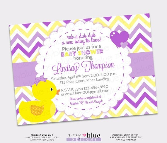 girl rubber ducky baby shower invitation girl bow printable, Baby shower invitation