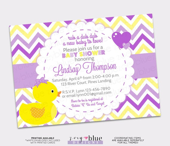 girl rubber ducky baby shower invitation girl bow printable, Baby shower