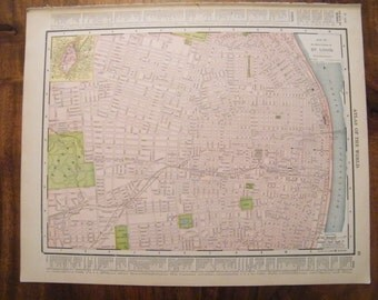 Authentic Antique Vintage 1913 Map of St. Louis Rand McNally Unrivaled Atlas of the world page 103 year old map