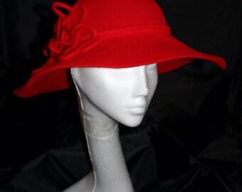 Casual Red Furfelt Floppy Hat Handmade Millinery Autumn Winter  2016/2017 Season