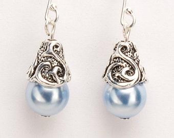 Blue Earrings, Light Blue Earrings, Gift for Her, Crystal Pearl Earrings, Sterling Silver Earwires