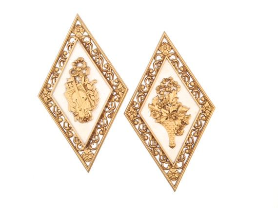 Hollywood regency wall decor syroco diamond gold plastic for Hollywood regency wall decor