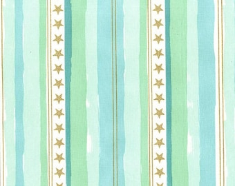 QUILTING COTTON-Michael Miller-STARS and stripes In mist with metallic-1/2 yard