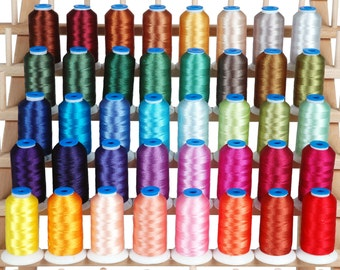 Machine Embroidery Thread Set B - Big 1000m Polyester Cones - 40 Colors - 40wt