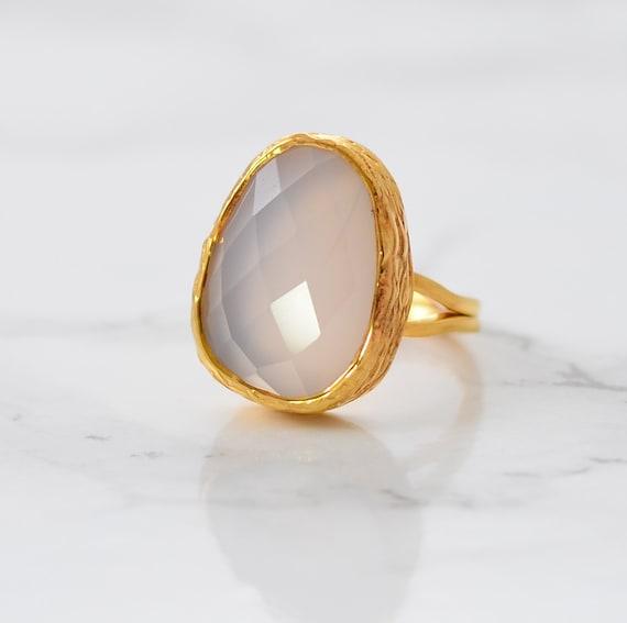 grey chalcedony ring october birthstone ring gemstone ring