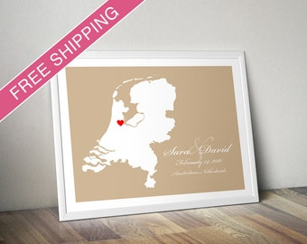 Personalized Netherlands (Holland) Wedding Guest Book Poster - Custom Location and Map Print - Wedding Gift