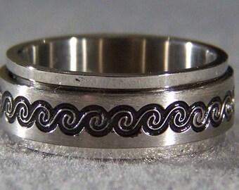 Vintage Steel eternity enamel etch spinner wedding band ring 8 Jewelry **RL