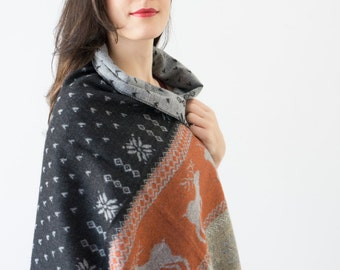 Scarf Nordic Scarf Reindeer Scarf Gray Scarf Deer Scarf Winter Scarf Women Holiday Fashion Accessories Gift Ideas For Her