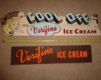 Vintage 1950s Verifine ice cream cardboard sign and sticker,Princess Verifine
