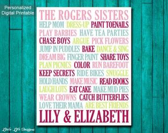 Sisters Wall Art. Girls Room Decor. Sisters Sign. Girl Nursery Decor. Big Sister Little Sister. Twins. Sisters Art. Sister Decor. Girls.